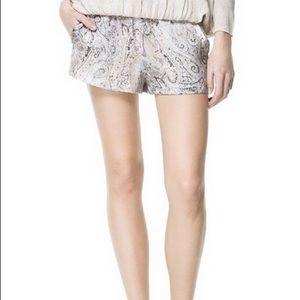 Silk Paisley Print Shorts